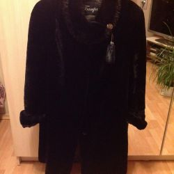 Muton natural fur coat + mink new