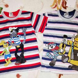 T-shirts για παιδιά νέο πακέτο р.68-74, φωτεινό, хл