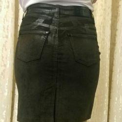 Suede look skirt.