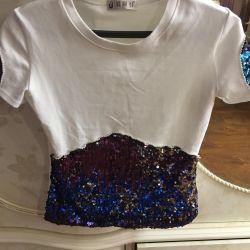 Renkli paletli kadın T-shirt