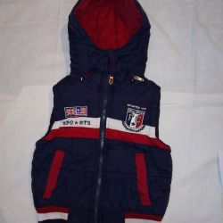 Warm demi-season vest 1,5-2g up to 80 cm for a boy