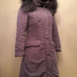 Coat cu capota si blana naturala 44-46