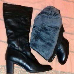 Yeni bayan deri botları kış