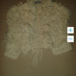 Knitted vest for the girl of SkyLake of river 128-134,