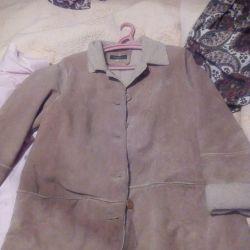 Дубленка,тонкое,пальто замша,50 размер