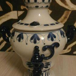 Gzhel samovar, înălțime 21 cm
