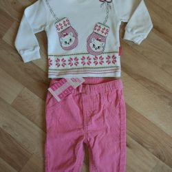 Pants and blouse for a girl 3-8 months