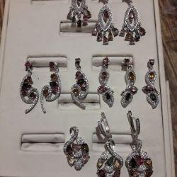 Турмалиновый комплект, серебро