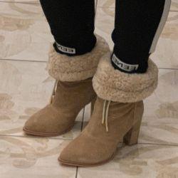 Chloe çizmeler, doğal süet, koyun derisi 38