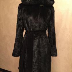 Mink coat with hood 42-46