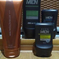 Men's gels, shampoos, aftershave