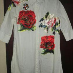 Блузка новая белая с принтом