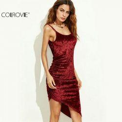 Burgundia rochie catifelată asimetrică