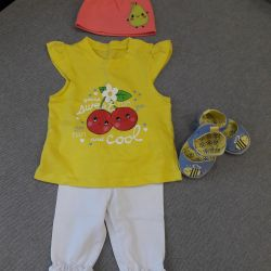 Suit: T-shirt, leggings, hat and shoes