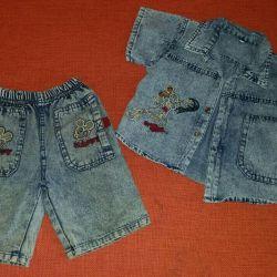 Denim shorts and shirt, р.92-98