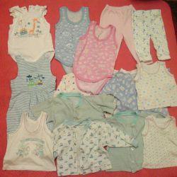 Un pachet de lucruri pentru o fată de 2-6 luni, 300 de ruble.