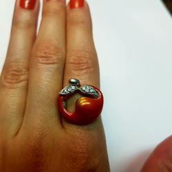 Кольцо с эмалью серебро 925