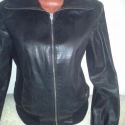 Women's leather jacket, black