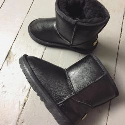 Children's boots winter ugi natural fur and leather