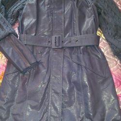 Raincoat (coat) eco-leather. Size 46