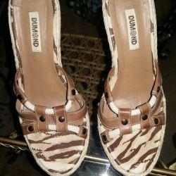 Новые сабо туфли кожа текстиль италия