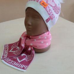 Комплект шапочка + шарфик для дівчинки