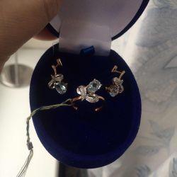 Och răcoros aur set topaz diamante