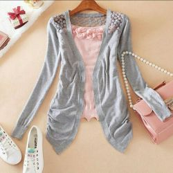Cardigan gray, knitted