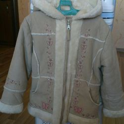 Artificial sheepskin coat for a girl 5-7 years old
