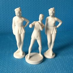 USSR Figurines: Boxer and 2 Figure Skaters