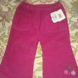 Corduroy trousers for the girl new r.80. Baby