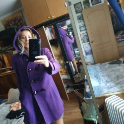 Coat draped, bright purple, size 46, gangway