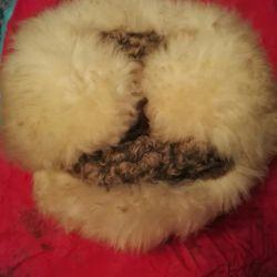 Κάλυμμα με αυτιά-πτερύγια νέα γούνα από δέρμα προβάτου-αστραχάν