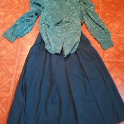 Blouse silk and skirt wool