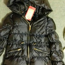 Down jacket for a girl with a hat