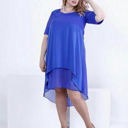 Şifonlu mavi gece elbisesi