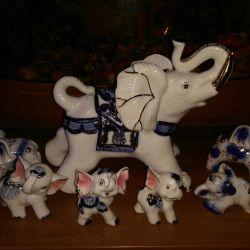 Ελέφαντες 7 τεμ. Gzhel