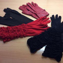 Довгі рукавички з еластану і натуральної шкіри
