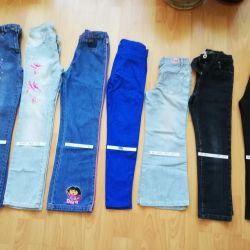 Jeans pentru o fată, înălțimea de 122-152
