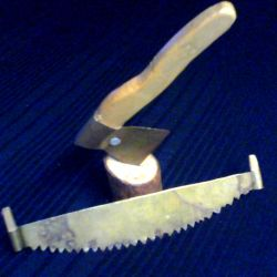 Handicraft from the USSR (hatchet and saw).