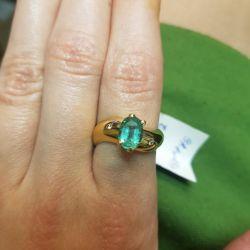 Кольцо с изумрудом и бриллиантами. Золото 585