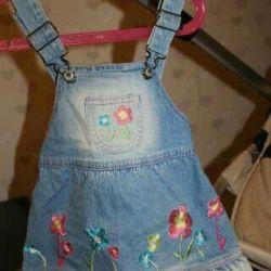 Детский джинсовый сарафан 86см