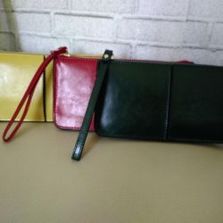A new purse is a clutch. Leather