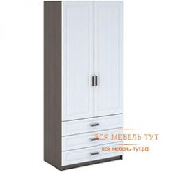 Prague Wardrobe 2-fold linen with drawers MDF (wenge / white wood) ShK-905
