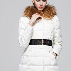 Yeni Aşağı ceket kar beyazı ile rakun kürk 46p