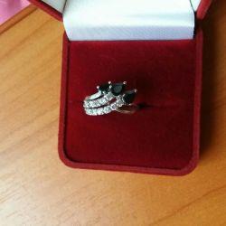 Кольцо серебро, камни сапфиры натуральные, 17р💍