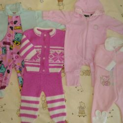 Overalls and costume for a girl 0 - 6 months package