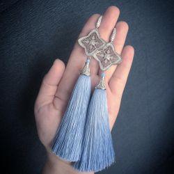 LUXURY sky blue tassel earrings (silk)