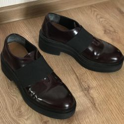 Burgundy μπότες παχιά σόλα