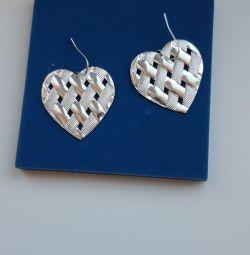 Νέες καρδιές σκουλαρικιών. Μέταλλο
